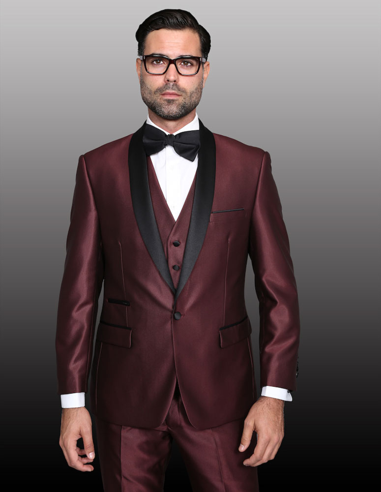 Turn heads at your next dinner party by dressing in this burgundy suit. Pairing a stately, five-button vest with a two-button notch-lapel jacket and flat-front trousers, this suit draws a balance between striking color and an unmistakably dignified.