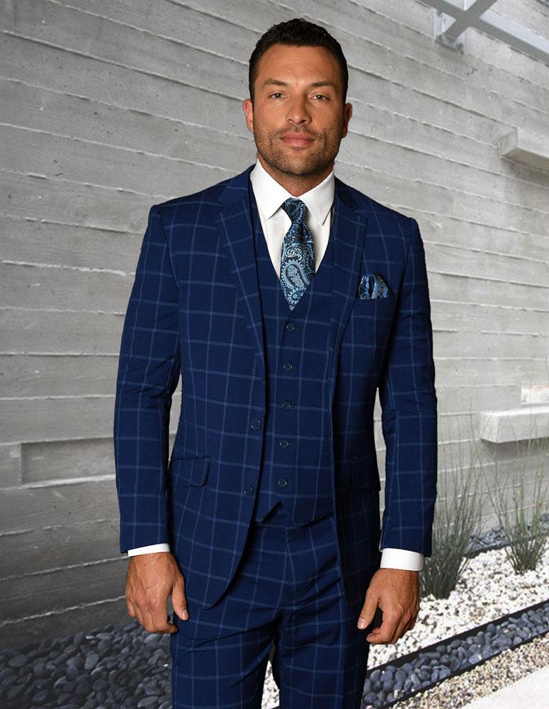 816ca998f357 3pc Flat Front Pattern Suit - Dark Blue 3 Piece Suit